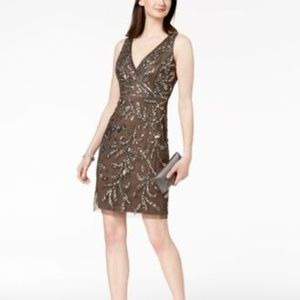Adrianna Papell V-Neck Sequined Dress Lead